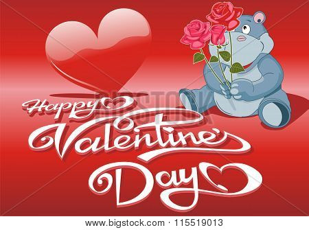 Decorative Background Valentines Day With Hearts And Hippo With A Bouquet Of Roses [
