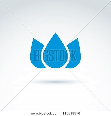Blue Crown Created From Three Water Drops, Vector Ecology Coronet. Ecology Symbol