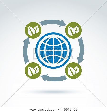 Connected Circles With Green Leaves Placed Around The Planet, Conceptual Circulation Sign, Ecology S