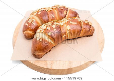Delicious croissants with grated almonds.