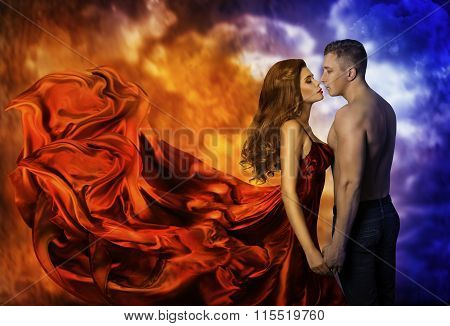 Couple in Love Hot Fire Woman and Cold Man Romantic Girl Kiss Lover