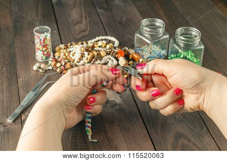 Woman Make Handmade Beads