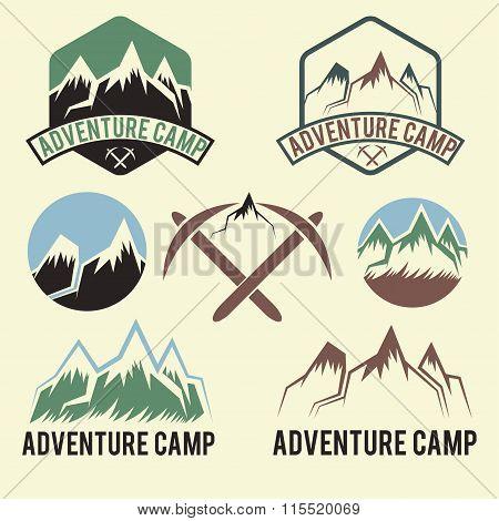 Set Of Vintage Labels Adventure Camp