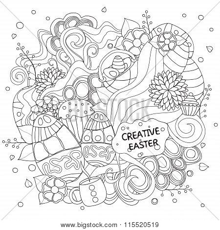 Stock Vector Cartoon Doodle Easter Pattern. Card, Brochure, Poster Template.