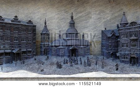 Image of ancient russian city in miniature