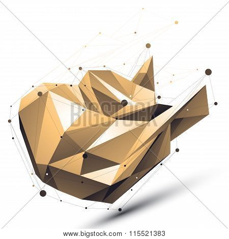 Distorted 3D Cybernetic Object With Abstract Lines And Dots Isolated On White Background.