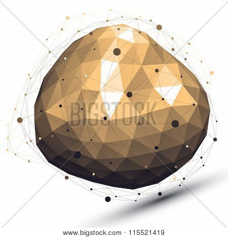 3D Vector Abstract Design Object, Deformed Complicated Figure With Lines Mesh Isolated On White Back