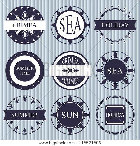 Stock Vector Set Of Label. Marine Style. Crimea