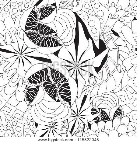 Stock Vector Seamless Doodle Floral Pattern, Black And White