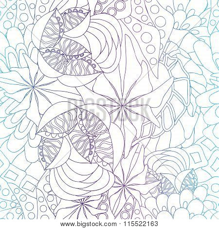 Stock Vector Seamless Doodle Floral Pattern