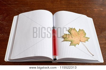 Yellow leaf and pen on the copybook