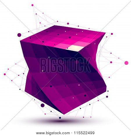 Colorful abstract deformed vector square object with lines mesh isolated on white background