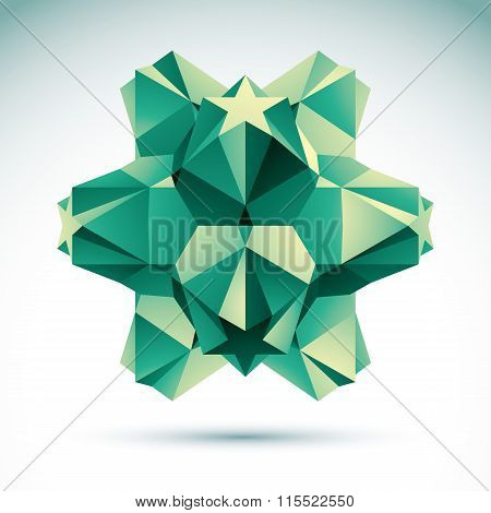 Abstract Geometric 3D green Object, Vector Illustration