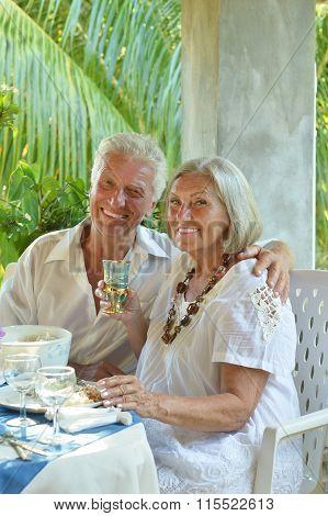 Mature couple at restaurant
