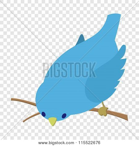 Bend down blue bird illustration