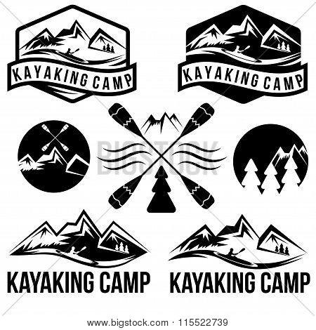 Kayaking Camp Vintage Labels Set