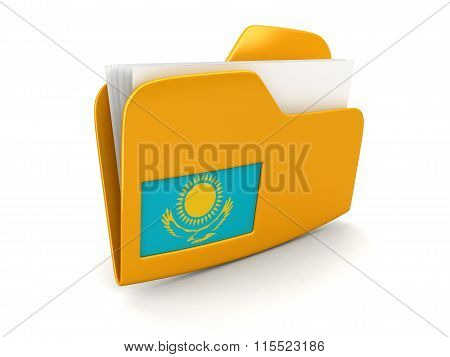folder and lists with Kazakh Flag. Image with clipping path
