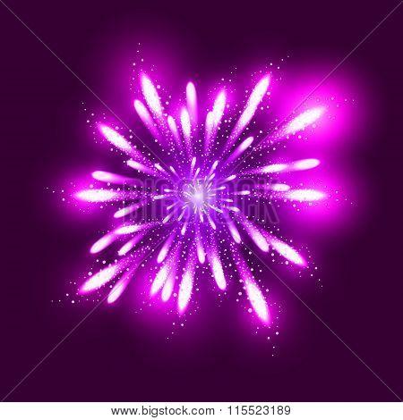 Fireworks illustration, dark background with firework show
