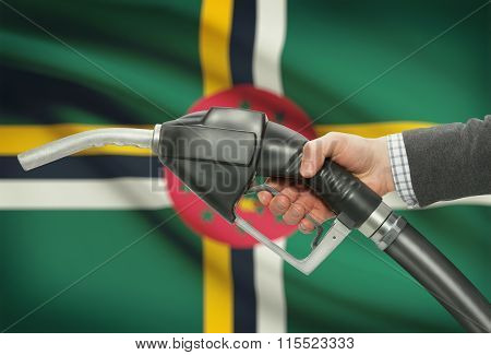 Fuel Pump Nozzle In Hand With National Flag On Background - Dominica