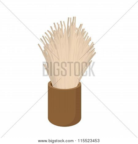 Wooden shaving brush cartoon icon