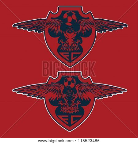 Football Team Crests Set With Eagles Vector Design Template