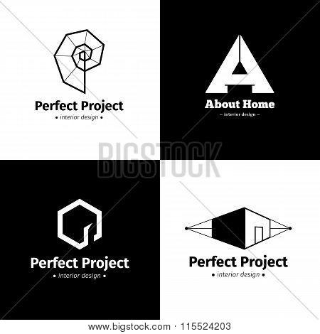 Vector Set Of Four Modern Minimalistic Interior Design Studio Logos. Black And White Creative Logoty