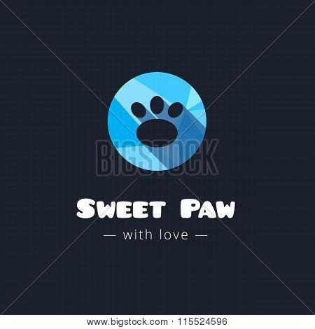 Vector Cute Paw Polygonal Logo. Pet Shop Sign