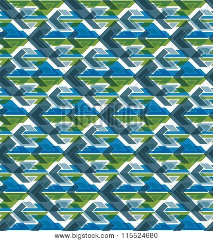 Colorful Geometric Seamless Layered Composition Created With Arrows, Green Symmetric Endless Vector