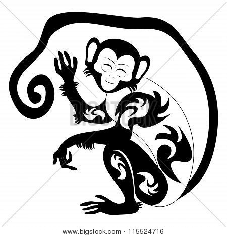 An Illustration Of A Stylised Monkey