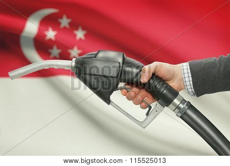 Fuel Pump Nozzle In Hand With National Flag On Background - Singapore