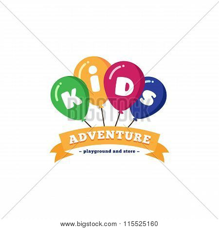 Vector Bright Kids Playground Logo With Balloons And Ribbon