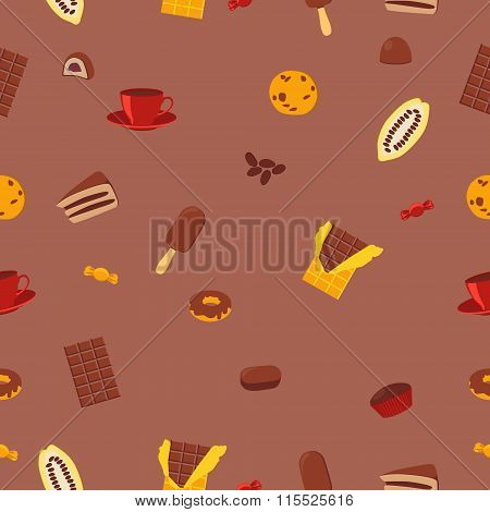Seamless pattern chocolate products. Chocolate, candy and cocoa fruit. Vector illustration