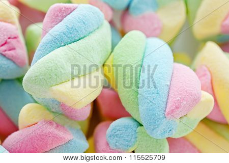 .background Of Twisted, Colorful Marshmallow, Close Up, Macro .