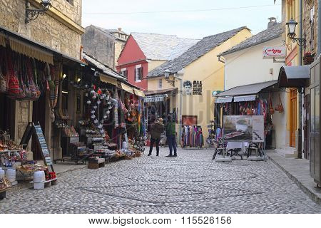 Mostar, Bosnia, January, 1, 2016: Landscape with the image of street market in Mostar, Bosnia