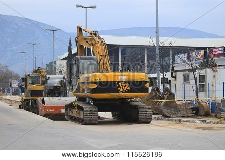 Mostar, Bosnia, January, 1, 2016: the heavy machinery works on construction in Mostar, Bosnia