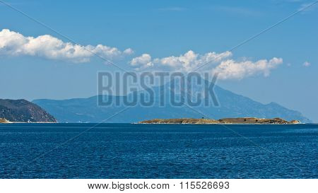 Greek coast of aegean sea near holy mountain Athos