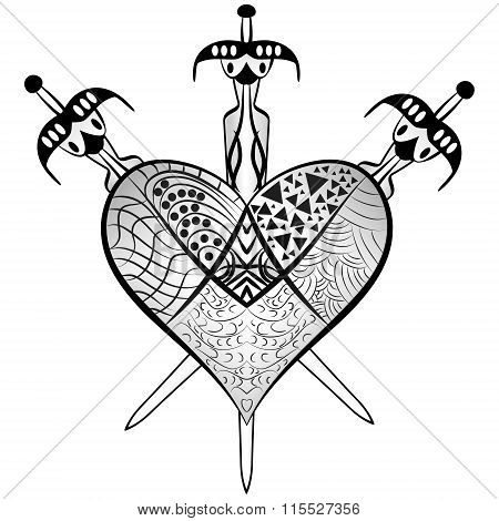 Heart And Three Swords Vector Zentangle Style
