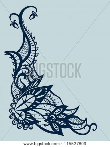 Abstract Lace With Elements Of Flowers, Leaves And Butterfly
