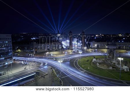 Night On City Junction With Light Trails