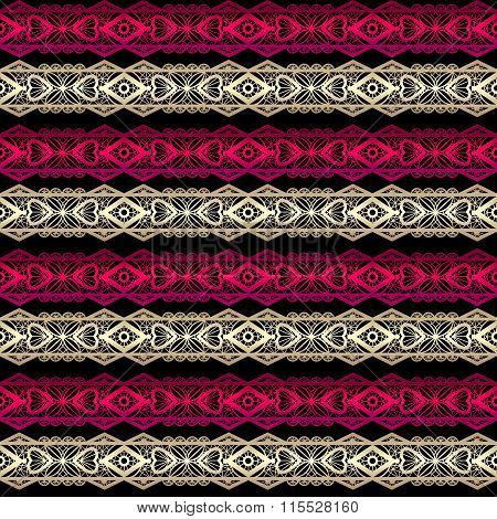 Golden And Red Seamless Lace Ribbon Trim Pattern Background