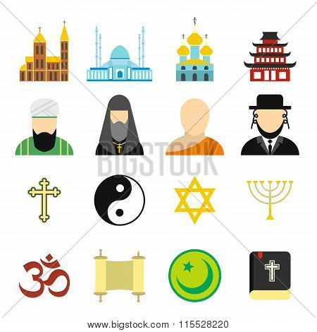 Religion flat icons set
