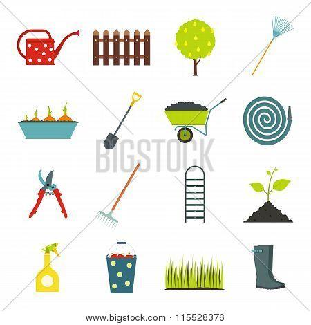 16 garden flat icons set