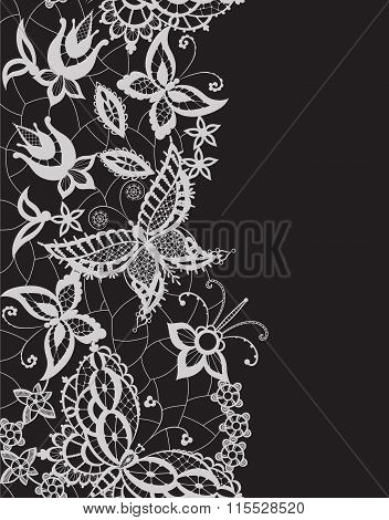 Abstract Lace With Elements Ofv Flowers, Leaves And Butterflies