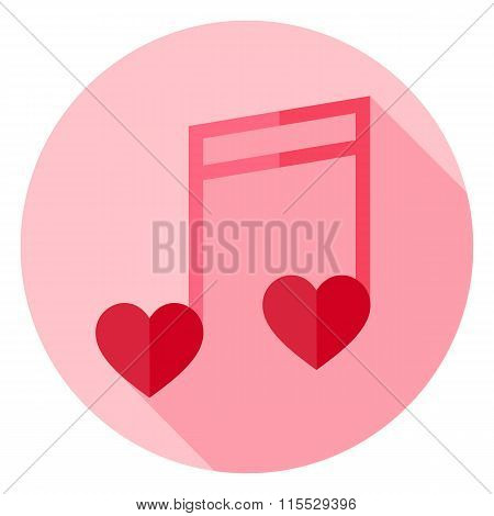 Musical Note With Hearts Circle Icon