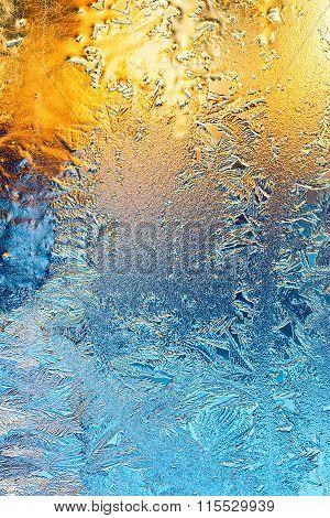 Icy Pattern On Frozen Winter Window Glass