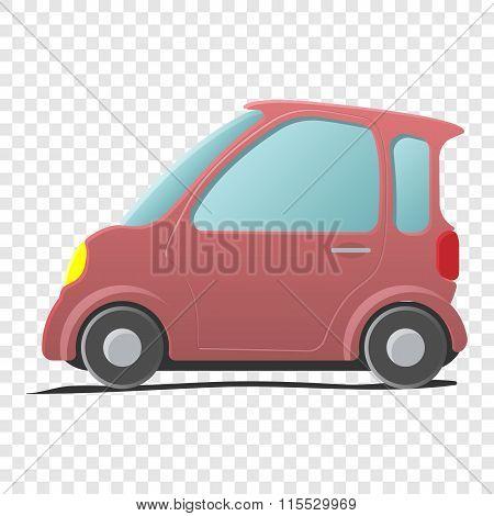 Mini car. Single cartoon symbol
