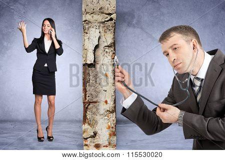 Businessman with stethoscope