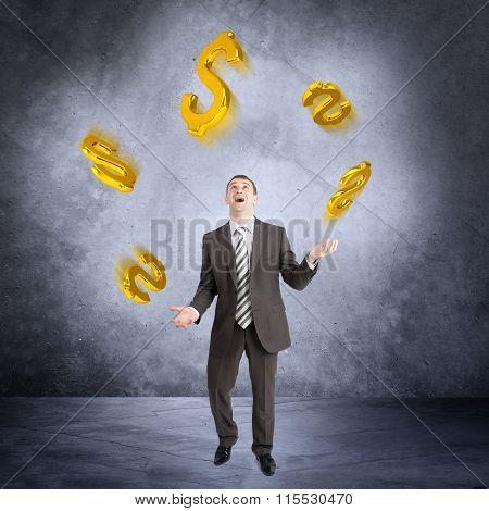 Businessman juggling dollar sign