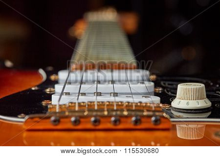 Knob, Strings And Pick-up Of Electric Guitar