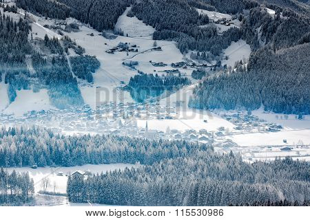 Wintery Village In Alpine Valley, Tyrol, Austria
